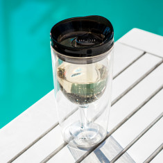 TraVino spillproof wine sippy cup in black