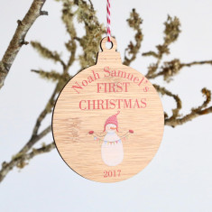 Coloured Snowman - Personalised First Christmas Wooden Christmas tree decoration