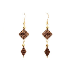 Square & diamond shaped beads earring