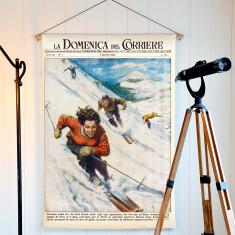 Vintage Snow Ski Linen Wall Hanging