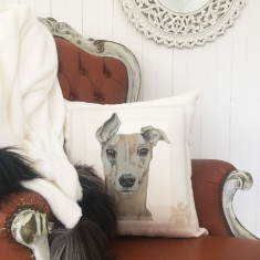 Clarke the Greyhound Linen Cushion