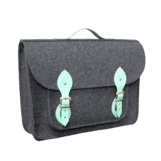 Dark grey felt laptop bag with mint leather detail