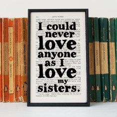 Sister gift Little Women Quote book page print