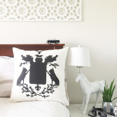 French Bulldog Silhouette Coat of Arms Linen Cushion