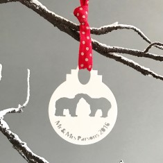 Personalised Mr and Mrs Polar Bear Bauble