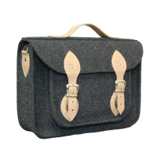 Dark grey felt laptop bag with leather detail