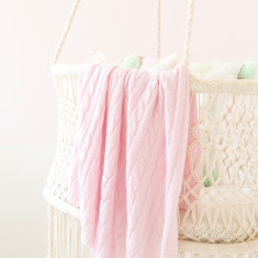 Cashmere cable knit baby blanket in blush