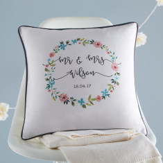 Floral Personalised Wedding Cushion Cover