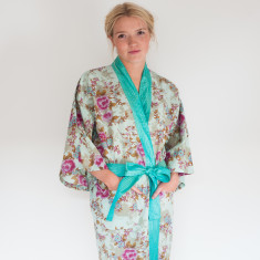 Cotton wrap-over kimono in Blue Beautiful Rose print