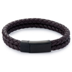Double leather weave bracelet (brown)