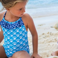 Girls' one-piece swimmers in Dachshunds Aquamarine