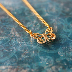 Gold plated butterfly charm necklace
