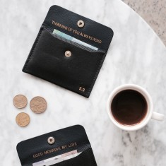 Card & coin leather holder with personalised message