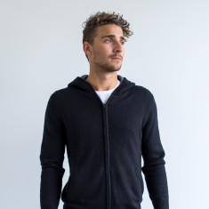 Calvin Zip Front Casual Hoodie In Black