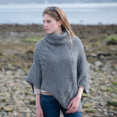 Alpaca Cable Knit Cowl Neck Poncho
