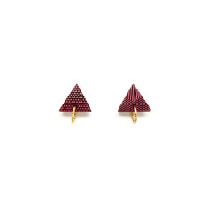 Textured gold ring & triangle post earring