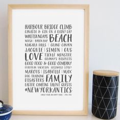 Personalised life moments print (various colours)