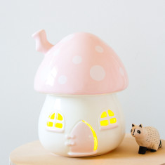Kid's Toadstool Night Light In Pink & White