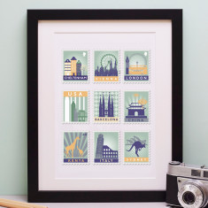 Stamp Art Destination Personalised Print