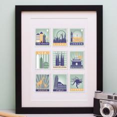 Stamp Art Destination Personalised Print