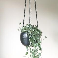 Matte black hanging planter