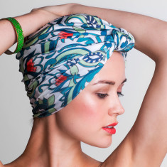 Dahlia turban-style shower cap in botanical