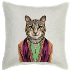 Male Cat linen cushion