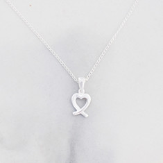 Stylized heart necklace in sterling silver