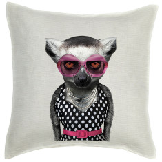 Lemur linen cushion cover