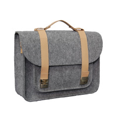 Felt laptop bag with leather detail