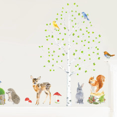 Woodland animals and tree wall stickers (large)