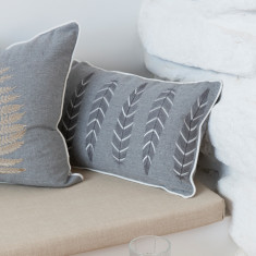 Embroidered Feather Cushion