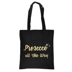 Prosecco All The Way Gold Glitter Tote Bag