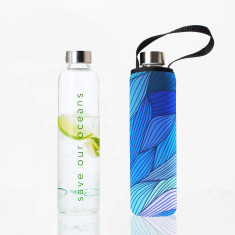 Glass is greener 750ml bottle with tide print carry cover