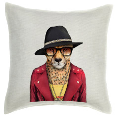Cheetah linen cushion cover