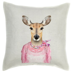 Deer linen cushion cover