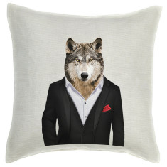 Wolf linen cushion cover