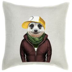 Meerkat linen cushion cover