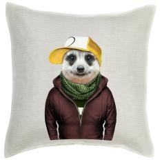 Meerkat linen cushion cover