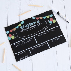 First Day of school - personalised blackboard reusable sign (balloons)