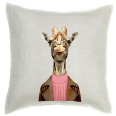 Giraffe linen cushion