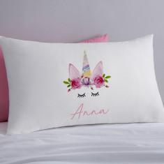 Unicorn Wreath Personalised Pillowcase