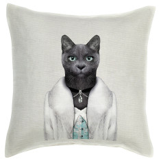 Princess Cat linen cushion cover
