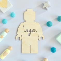 Wooden Personalised Kids' Brick Man Bedroom Door Sign