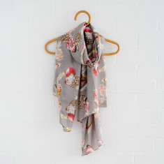 Feather Scarf In Grey