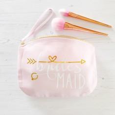Bridesmaid makeup bag with hidden date message