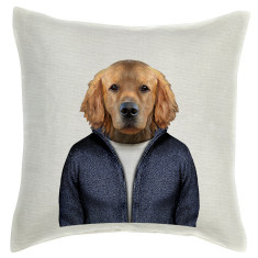 Retriever Dog linen cushion cover