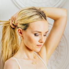 Gypsy Goddess Small Hoop Earrings in 18 KT Yellow Gold Plate