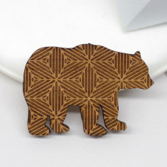 Wooden geometric bear brooch