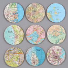 Nine map circles wall art (you choose the locations)